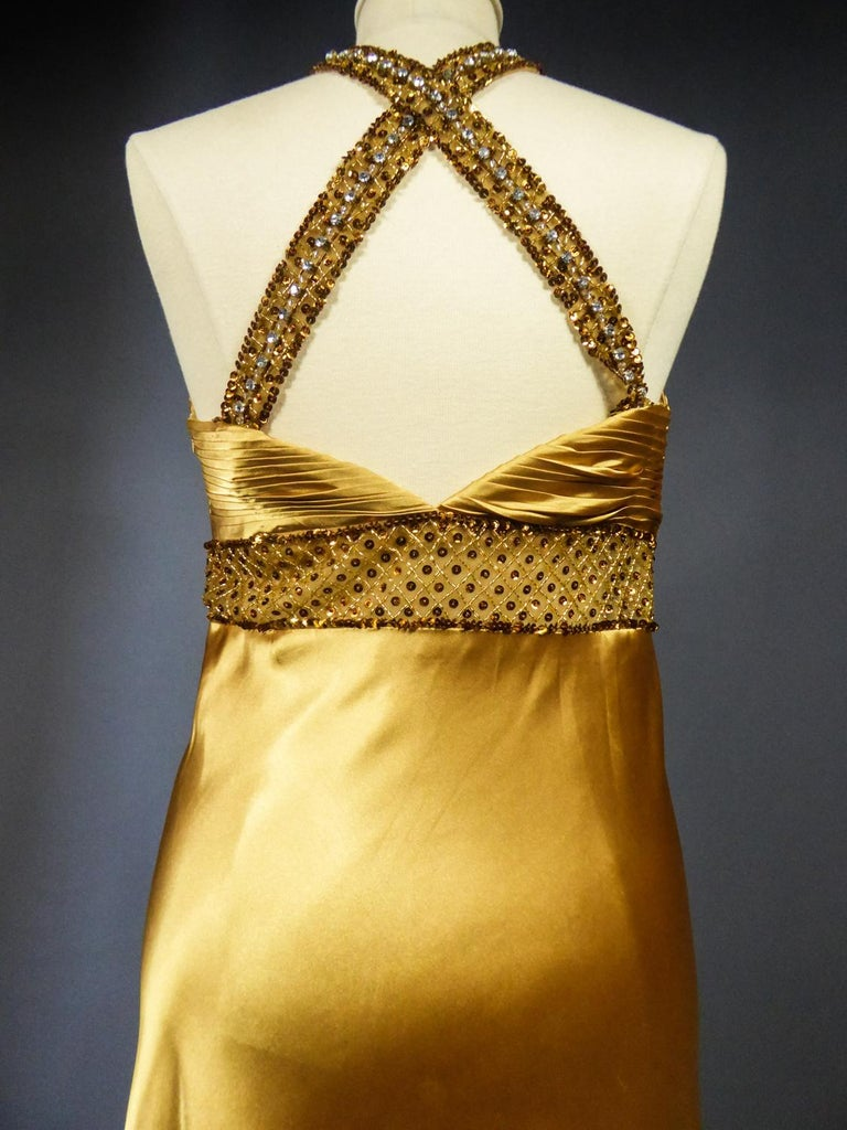 An French Evening Gown in Gold Embroidered Satin with Sequins Circa 1980 For Sale 8