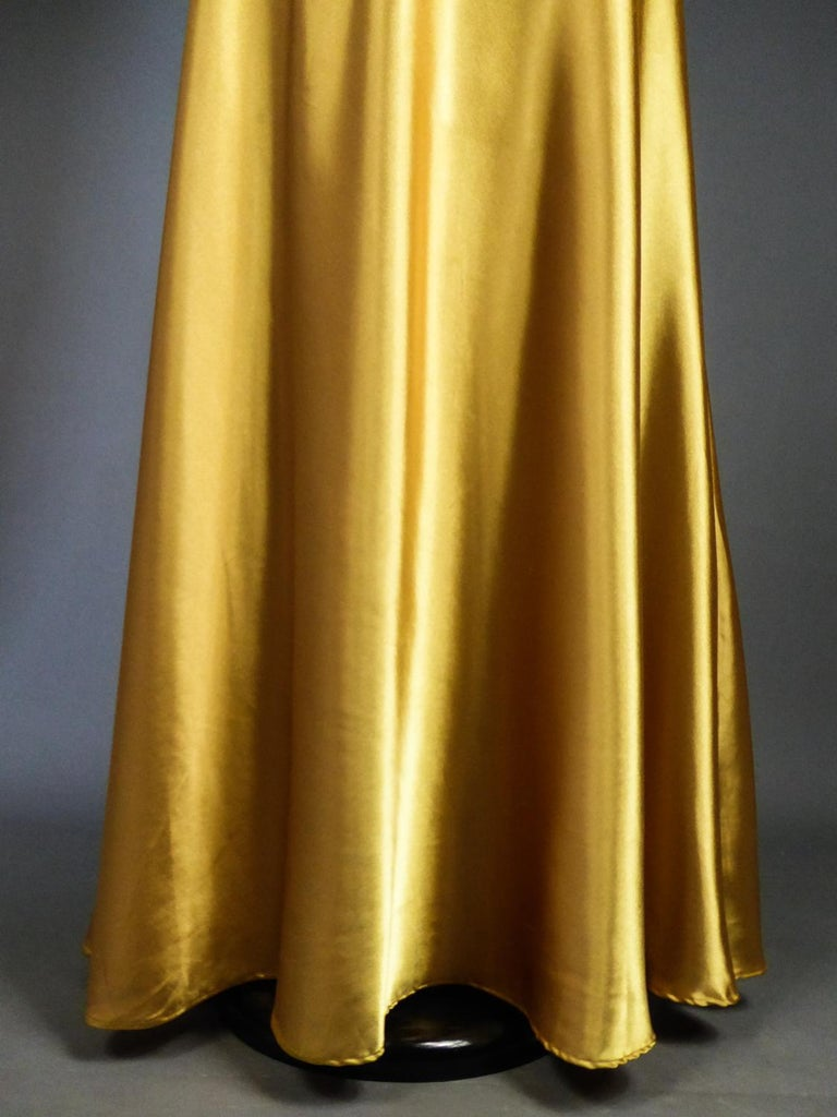 An French Evening Gown in Gold Embroidered Satin with Sequins Circa 1980 For Sale 2