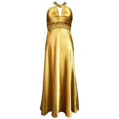 An French Evening Gown in Gold Embroidered Satin with Sequins Circa 1980