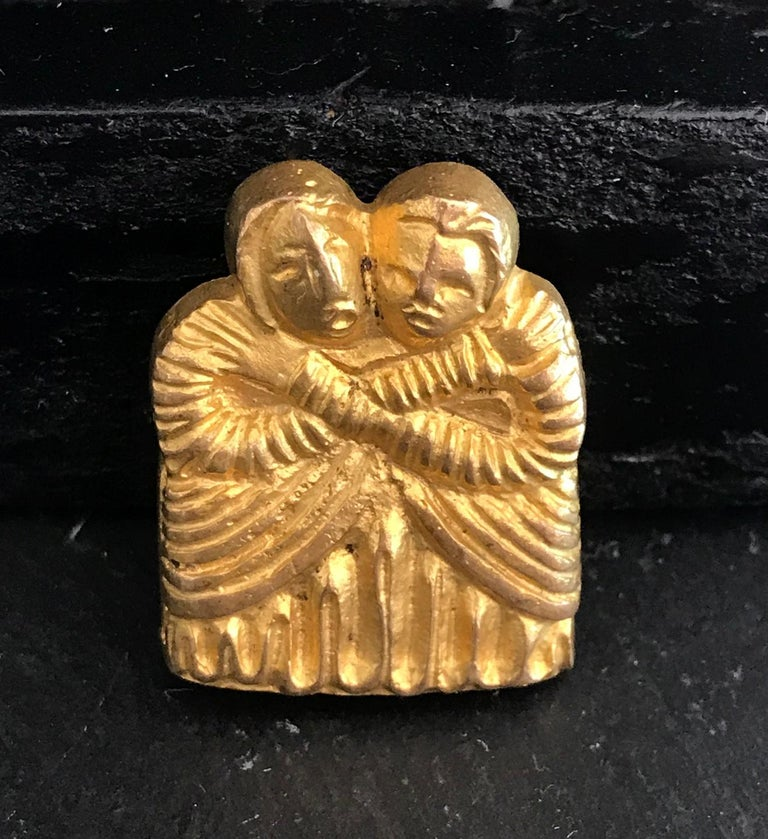 French Vintage Bronze Brooch by Line Vautrin For Sale 3