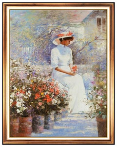 AN HE Hans Amis Large Original Painting Oil On Canvas Signed Female Portrait Art