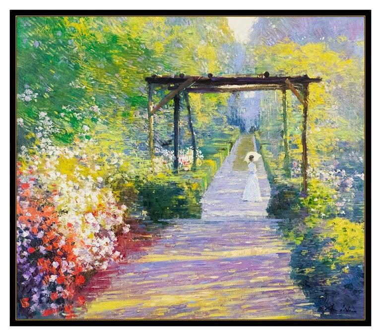 An He Hans Amis Large Original Painting Oil On Canvas Signed Floral Landscape 1