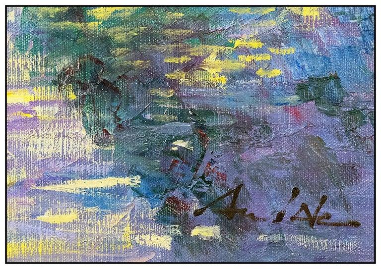 An He Hans Amis Large Original Painting Oil On Canvas Signed Floral Landscape 2