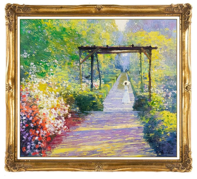 An He Hans Amis Large Original Painting Oil On Canvas Signed Floral Landscape - Brown Portrait Painting by An He