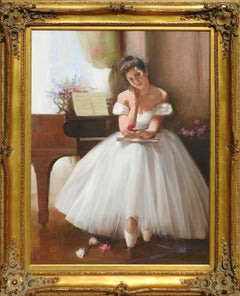 """Ballerina"", An He, Realistic Portrait, Original Oil on Canvas, 40x30 in."