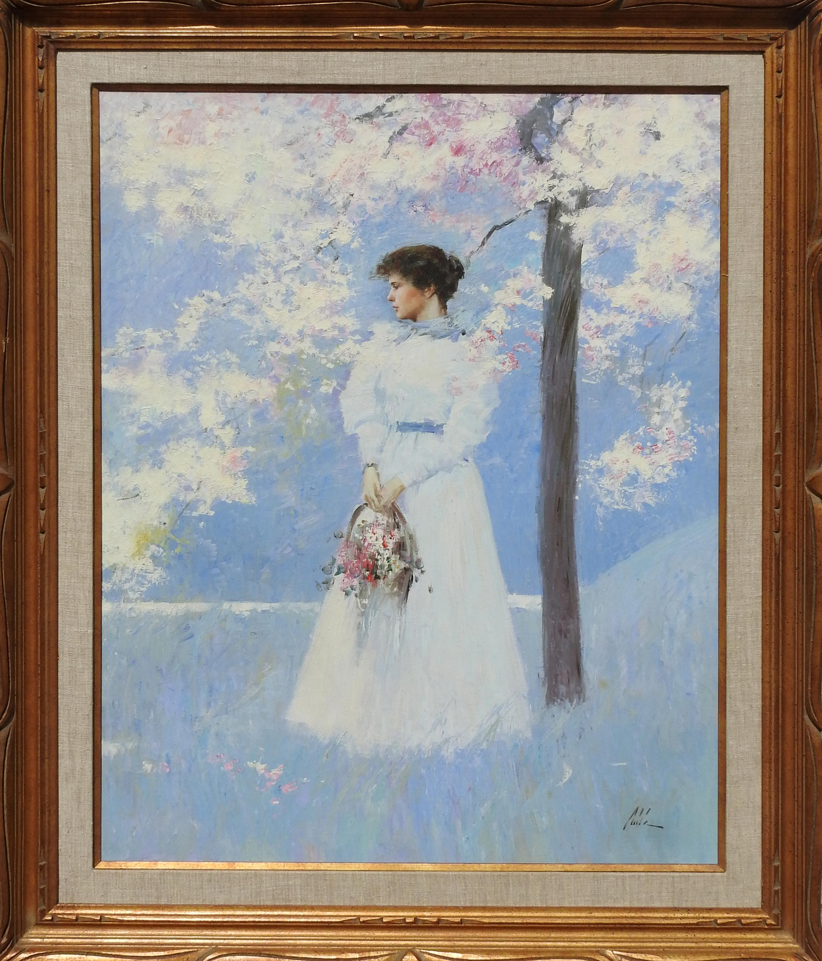 """Spring Reflection"", An He, Impressionistic Figurative Original Oil, 40x30 in."