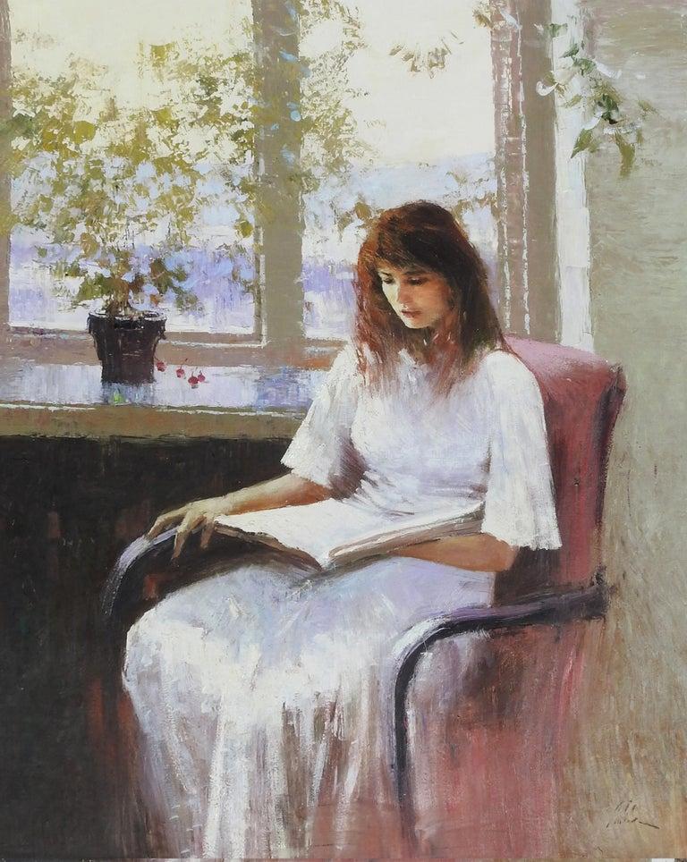 """Woman Reading"", An He, Impressionistic Portrait, Original Oil on Canvas, 40x30  - Painting by An He"