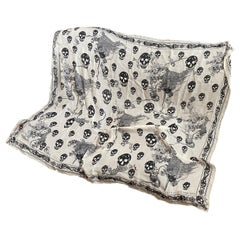 An Iconic Alexander McQueen Black and white Skulls  Silk Scarf