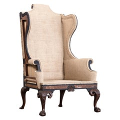 Import and Rare Early to Mid-18th Century Walnut Wingback Armchair