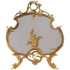 Important 19th Century Gilt Bronze Fireback