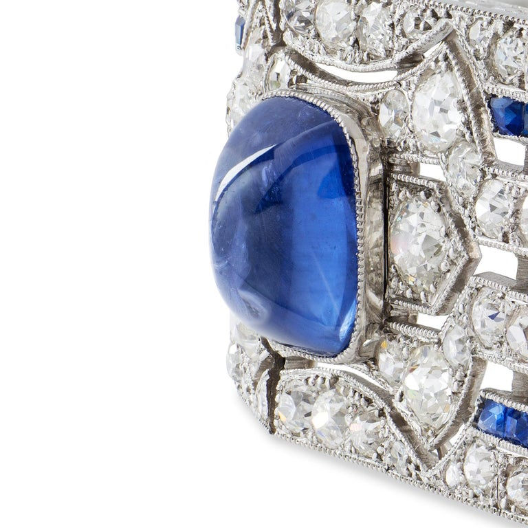 Old European Cut Important Art Deco Sapphire and Diamond Bracelet For Sale