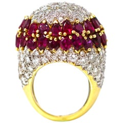 Important Diamond and Ruby Dome Cocktail Ring 18 Karat circa 1970