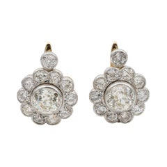 Important Edwardian 6.50 Carat Diamond Rare Cluster Earrings