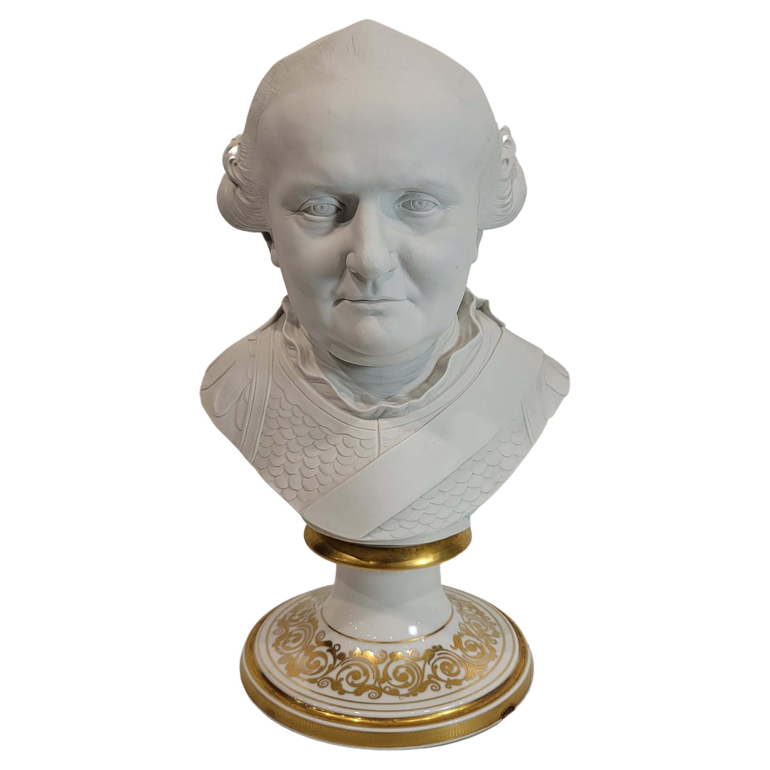 Important Fürstenberg Biscuit Portrait Bust of Carl Wilhelm Ferdinand