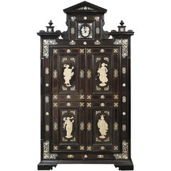 Important Italian Painted, Ivory Inlaid Ebony and Ebonized Cabinet, circa 1860