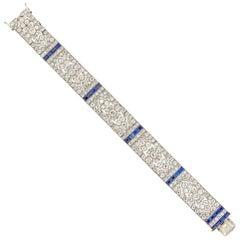 Important Late Belle Époque Sapphire and Diamond Bracelet
