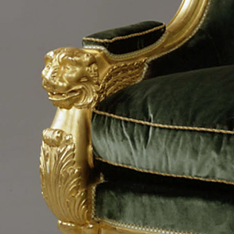 Important Pair of Empire Style Carved Giltwood Tub Chairs, circa 1850 In Good Condition For Sale In London, GB