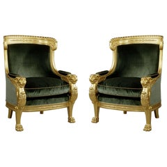 Important Pair of Empire Style Carved Giltwood Tub Chairs, circa 1850