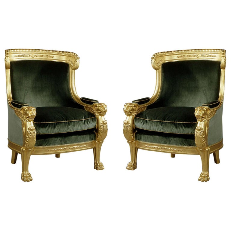 Important Pair of Empire Style Carved Giltwood Tub Chairs, circa 1850 For Sale