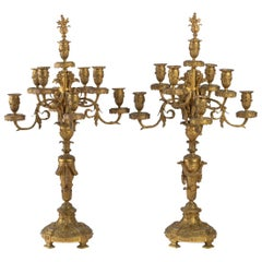 An Important Pair of Gilt Bronze Candelabra