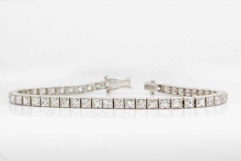 Important Platinum French Cut Diamond Line Bracelet For Sale 5