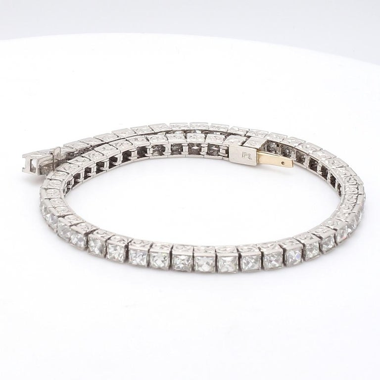 Art Deco Important Platinum French Cut Diamond Line Bracelet For Sale