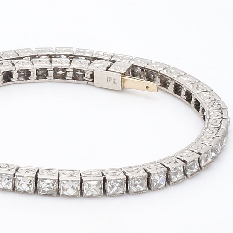 Important Platinum French Cut Diamond Line Bracelet In Excellent Condition For Sale In Miami, FL