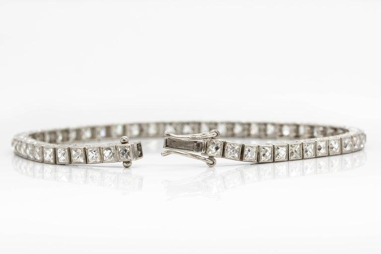 Women's or Men's Important Platinum French Cut Diamond Line Bracelet For Sale