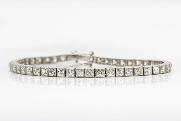 Important Platinum French Cut Diamond Line Bracelet For Sale 1