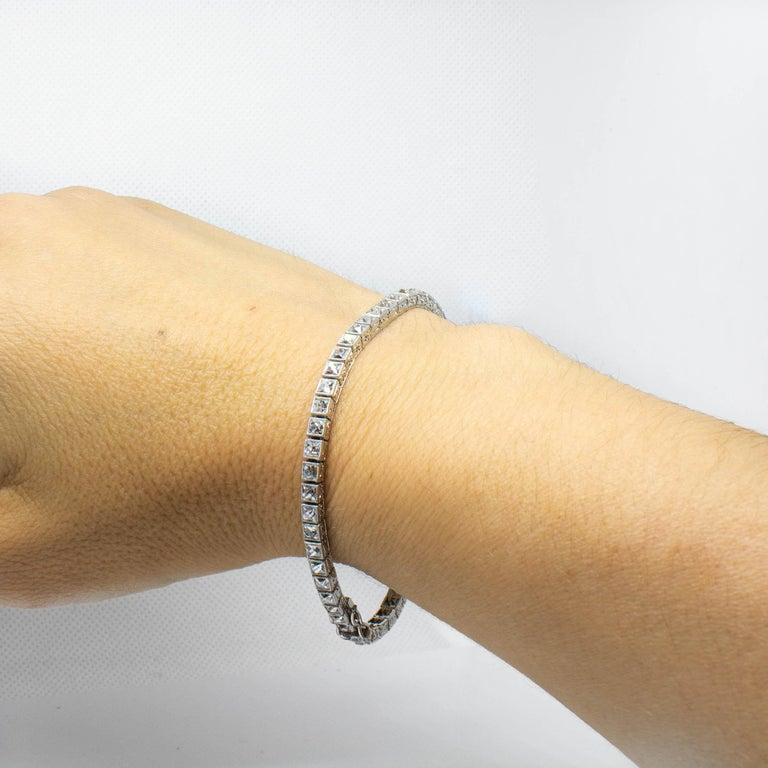 Important Platinum French Cut Diamond Line Bracelet For Sale 2