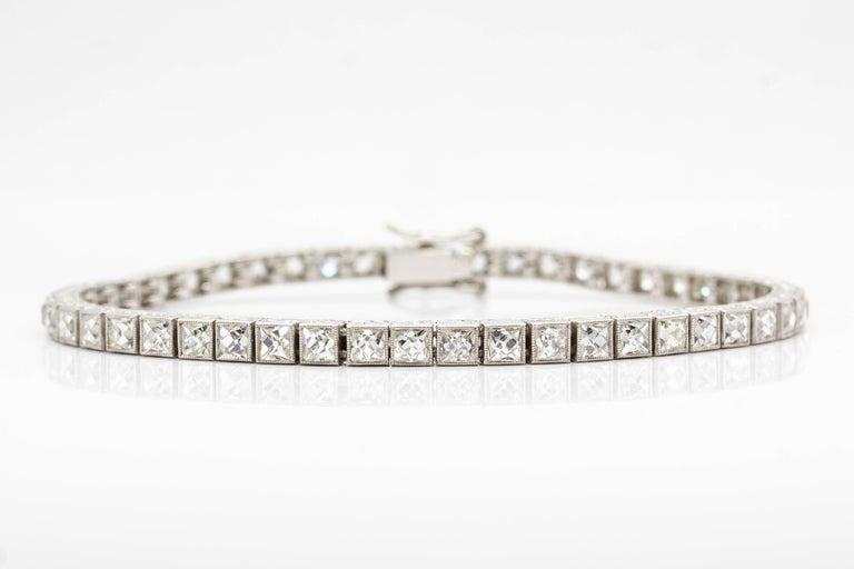 Important Platinum French Cut Diamond Line Bracelet For Sale 3