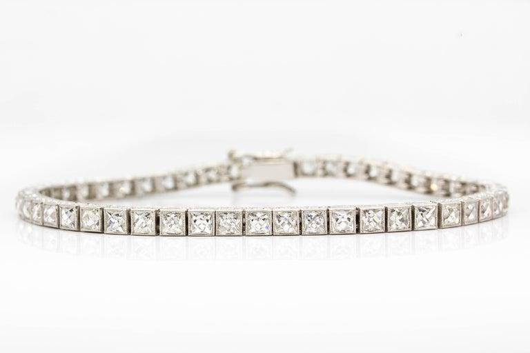 Important Platinum French Cut Diamond Line Bracelet For Sale 4