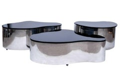 Important Set of 3 Karl Springer Polished Stainless Freeform Tables