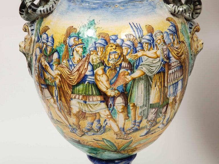 Imposing Pair of Large Antique Italian Majolica Snake-Handled Vases For Sale 5