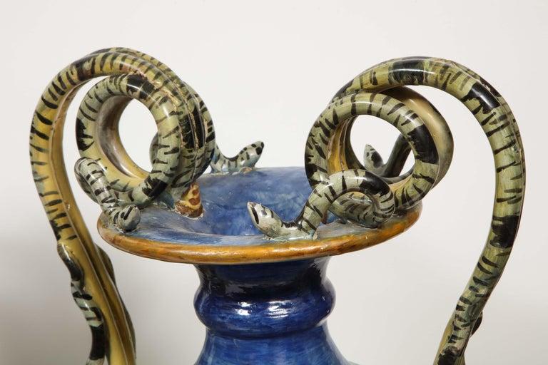 Imposing Pair of Large Antique Italian Majolica Snake-Handled Vases For Sale 7