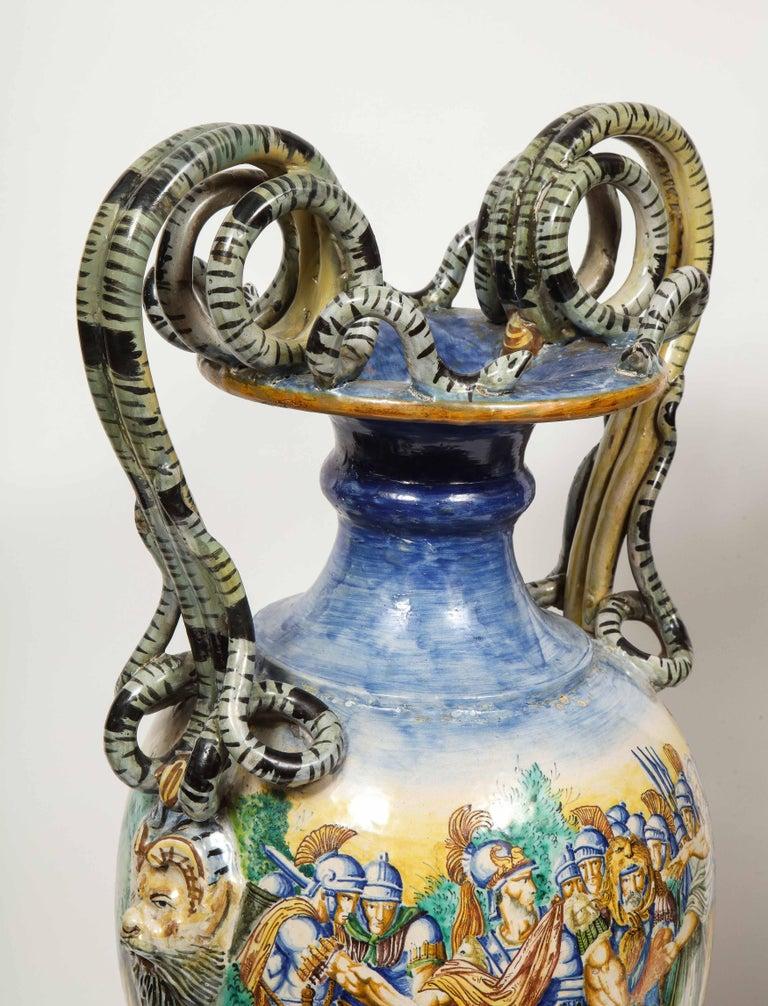 Imposing Pair of Large Antique Italian Majolica Snake-Handled Vases For Sale 8