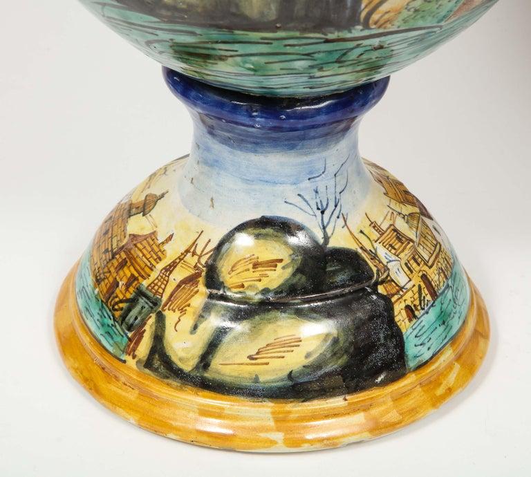 Imposing Pair of Large Antique Italian Majolica Snake-Handled Vases For Sale 11