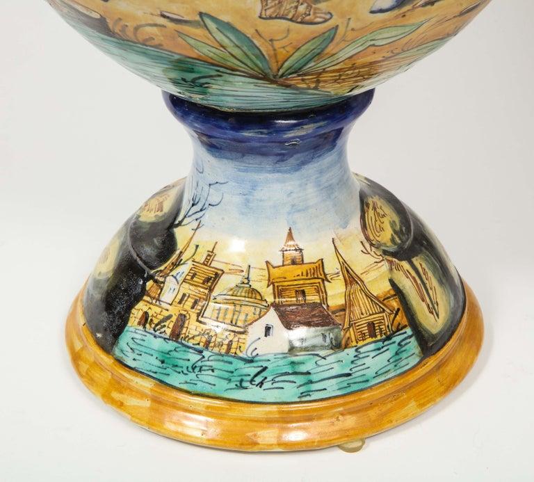 Imposing Pair of Large Antique Italian Majolica Snake-Handled Vases For Sale 12