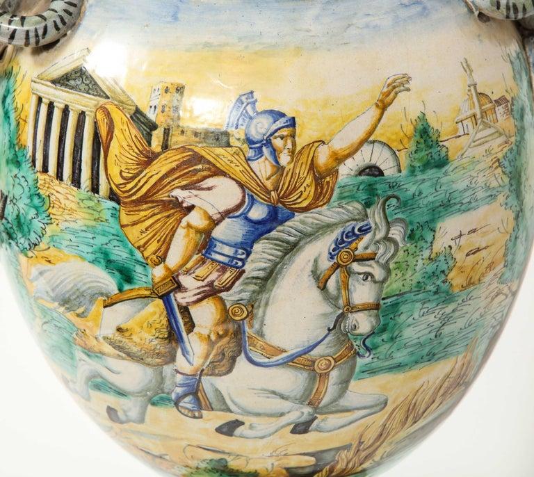 Imposing Pair of Large Antique Italian Majolica Snake-Handled Vases For Sale 13
