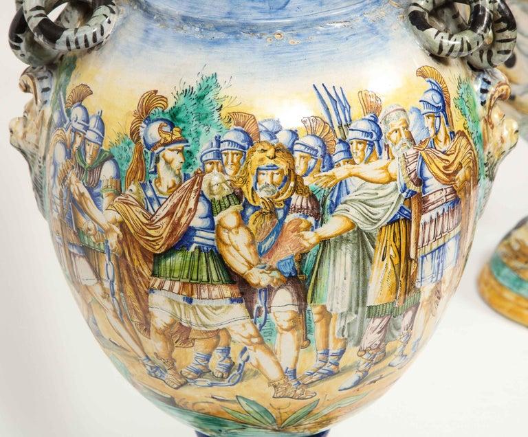 Imposing Pair of Large Antique Italian Majolica Snake-Handled Vases For Sale 14