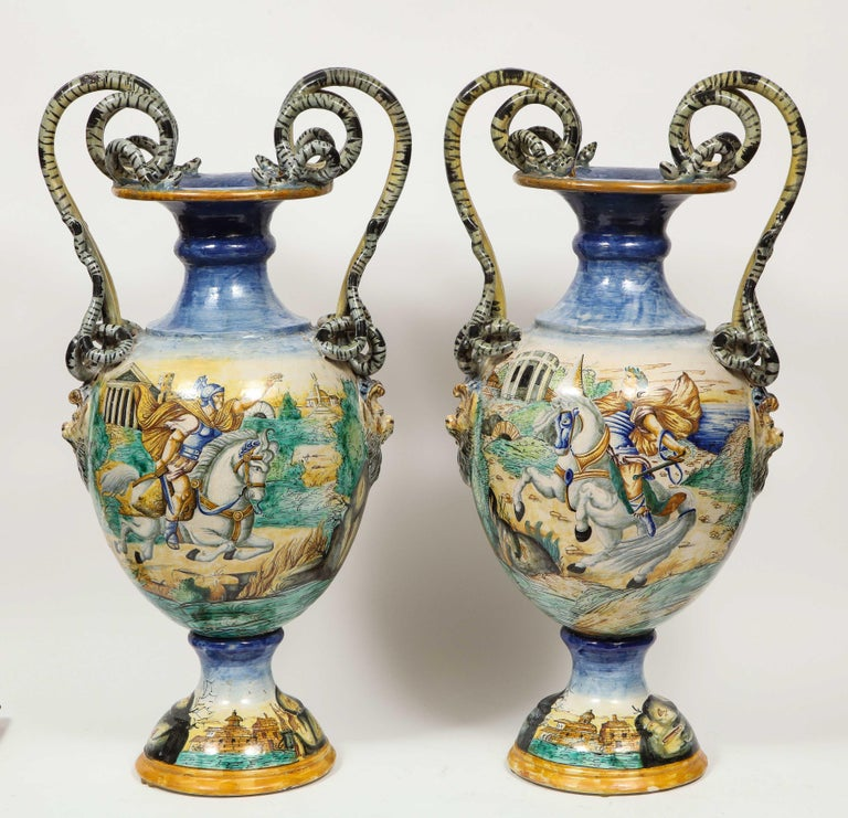 Renaissance Imposing Pair of Large Antique Italian Majolica Snake-Handled Vases For Sale