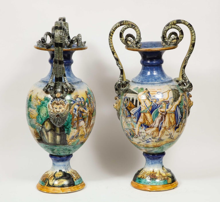Imposing Pair of Large Antique Italian Majolica Snake-Handled Vases In Good Condition For Sale In New York, NY