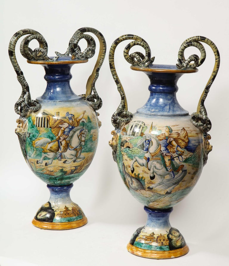 19th Century Imposing Pair of Large Antique Italian Majolica Snake-Handled Vases For Sale