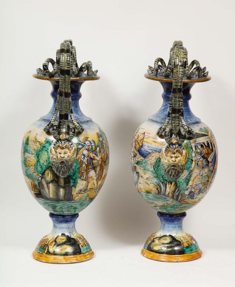Imposing Pair of Large Antique Italian Majolica Snake-Handled Vases For Sale 3