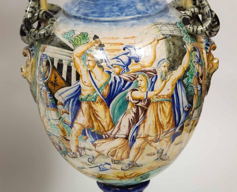 Imposing Pair of Large Antique Italian Majolica Snake-Handled Vases For Sale 4