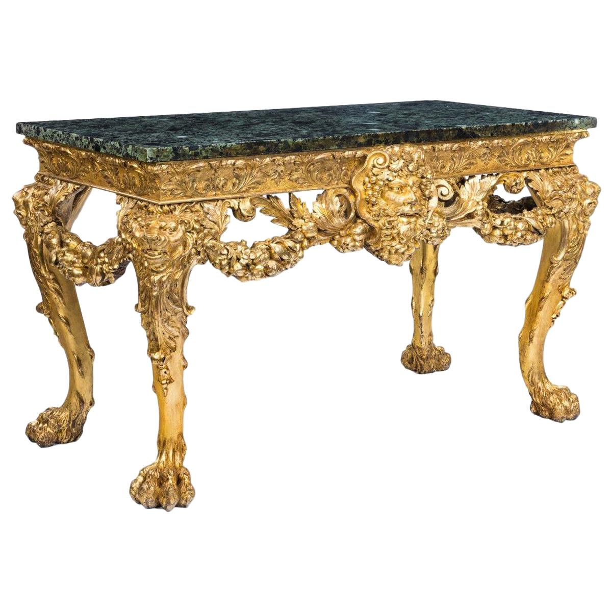 Imposing Victorian Giltwood Console Table in the Manner of William Kent