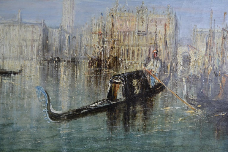 Edwardian Impressionist Painting of the Grand Canal in Venice by Francis Moltino For Sale