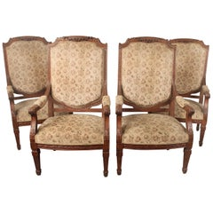 Impressive Set of Four Late 19th Century Louis XVI Style Carved Armchairs