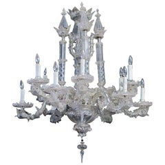 Impressive Venetian Glass 12-Light Chandelier with Dolphin-Form Arms