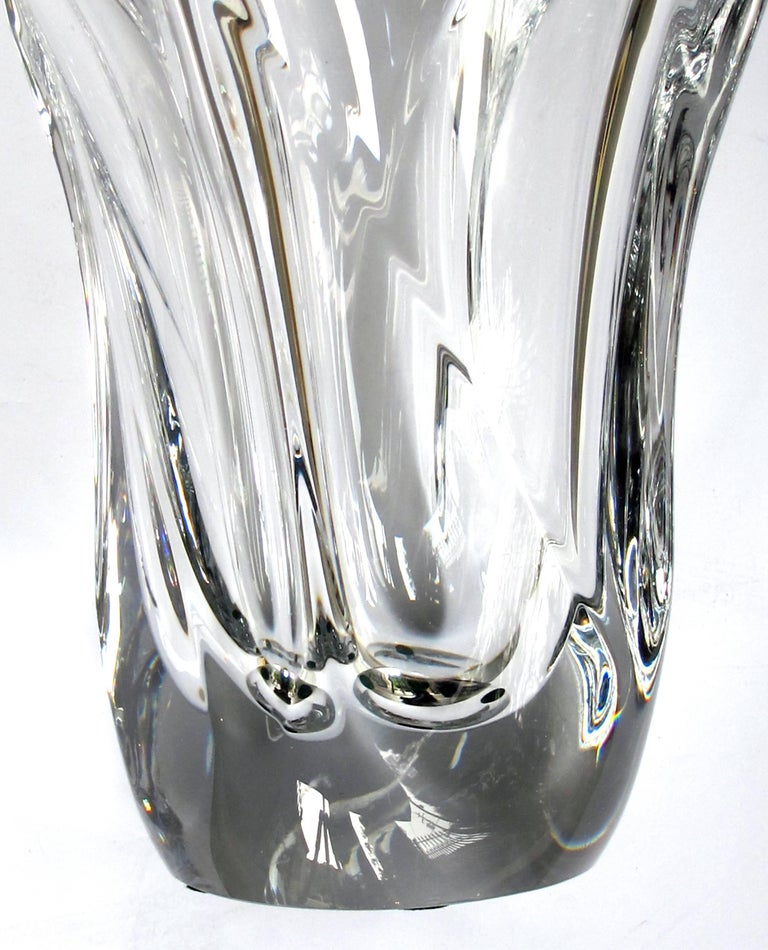 Impressively Large And Heavy French Daum Clear Crystal Vase Circa